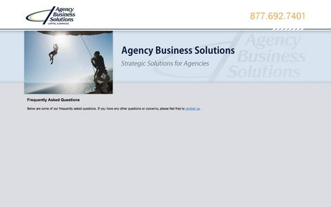 Screenshot of FAQ Page agencybusinesssolutions.com - Frequently Asked Questions - Agency Business Solutions - captured Oct. 4, 2014