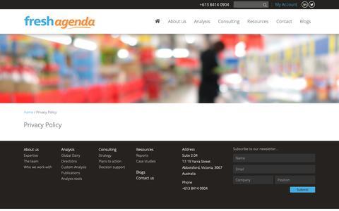 Screenshot of Privacy Page freshagenda.com.au - Privacy Policy - Freshagenda - captured Nov. 6, 2018