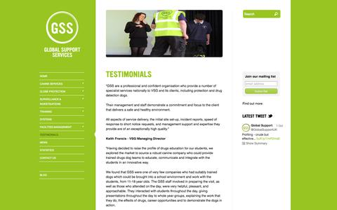 Screenshot of Testimonials Page global-support.org - Testimonials |  Global Support Services - captured Oct. 8, 2014