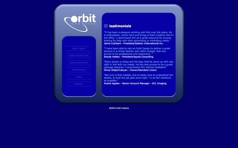 Screenshot of Testimonials Page orbitcreative.com - Orbit-creative :Testimonials - captured Aug. 13, 2016