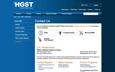 Screenshot of Contact Page hgst.com - Contact Us | HGST Storage - captured Sept. 19, 2014