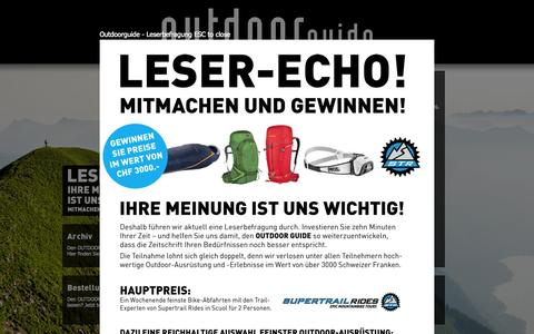 Screenshot of Home Page outdoor-guide.ch - outdoor guide - das schweizer outdoor magazin - captured June 20, 2015