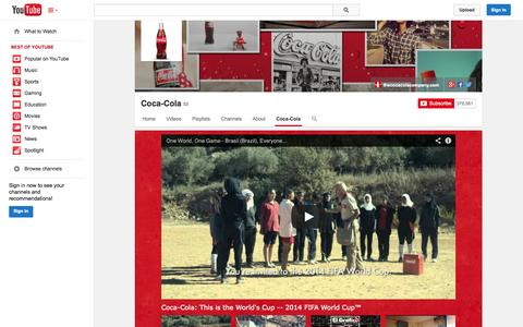 Screenshot of YouTube Page youtube.com - Coca-Cola  - YouTube - captured Oct. 22, 2014