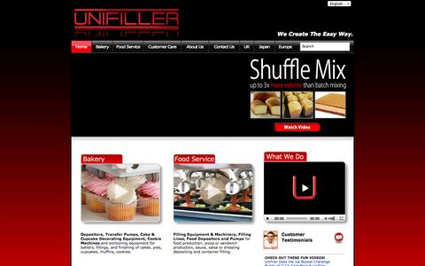 Screenshot of Home Page unifiller.com - Unifiller | Designs and Manufactures Bakery Depositors, Food Service Fillers, Pumps an Automated Production Lines. - captured Oct. 7, 2014