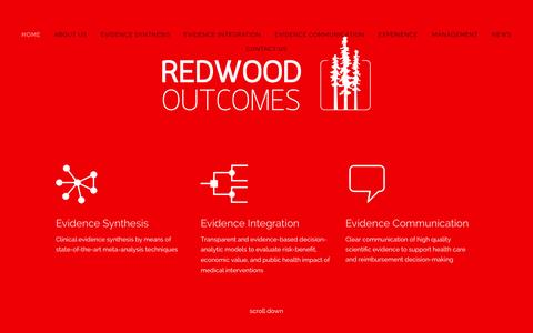 Screenshot of About Page Contact Page Press Page Team Page redwoodoutcomes.com - Redwood Outcomes - captured Nov. 5, 2014