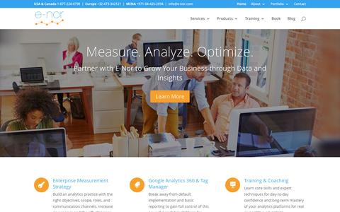 Screenshot of Home Page e-nor.com - E-Nor - Google Analytics 360 Suite Consulting and Training, Google Certified Service & Sales Partners - captured May 10, 2017