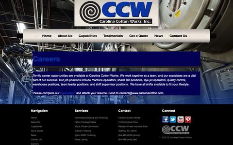 Screenshot of Jobs Page carolinacotton.com - Careers - Carolina Cotton Works - captured Sept. 27, 2018