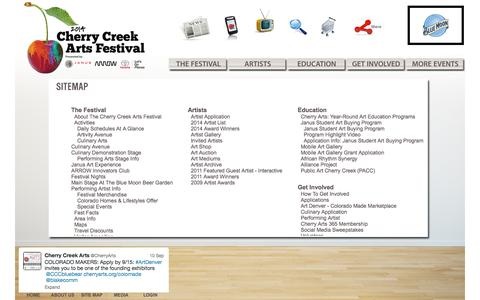 Screenshot of Site Map Page cherryarts.org - Cherry Creek Arts Festival - Site Map - captured Sept. 23, 2014