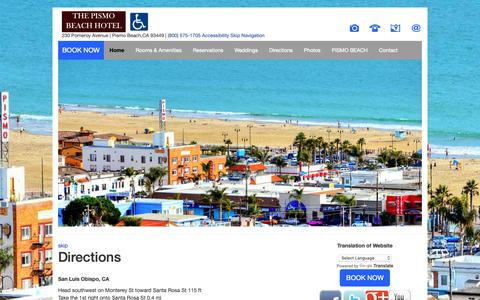 Screenshot of Maps & Directions Page thepismobeachhotel.com - Directions The Pismo Beach Hotel Pismo Beach California CA Hotels Motels Accommodations - captured Dec. 12, 2018