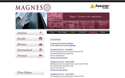 Screenshot of Locations Page magnesgroup.com - Locations - The Magnes Group Inc. - captured Feb. 15, 2016