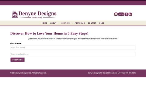 Screenshot of Signup Page denynedesigns.com - Discover How to Love Your Home in 3 Easy Steps! - Denyne Designs LLC - captured Jan. 7, 2016