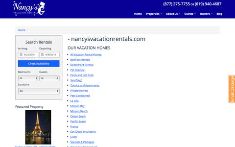 Screenshot of Site Map Page nancysvacationrentals.com captured Sept. 20, 2018