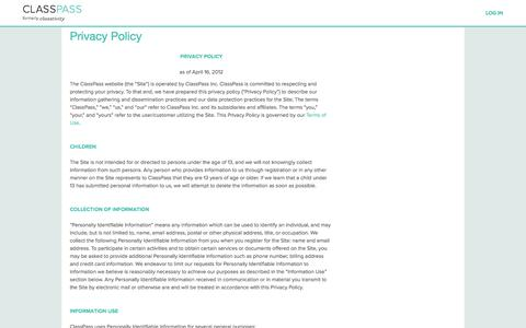 Screenshot of Privacy Page classpass.com - Privacy Policy | ClassPass - captured Sept. 13, 2014
