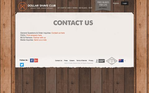 Screenshot of Contact Page dollarshaveclub.com - Contact Us - captured March 30, 2016