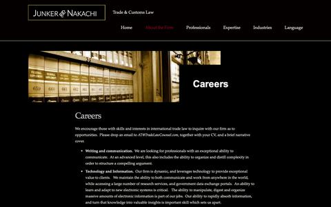 Screenshot of Jobs Page tradelawcounsel.com - Careers — Junker & Nakachi - captured Oct. 14, 2018