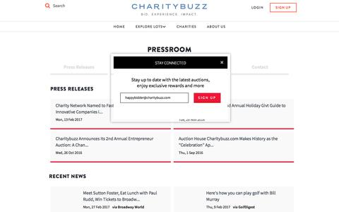 Screenshot of Press Page charitybuzz.com - Charitybuzz: Press Releases - captured Feb. 13, 2018