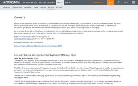 Screenshot of Jobs Page communigate.com - CommuniGate Pro - captured July 20, 2019