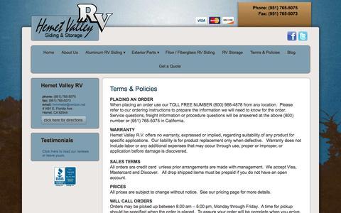 Screenshot of Pricing Page hemetvalleyrv.net - RV Aluminum and Fiberglass Siding for Travel Trailers | Hemet Valley RV - captured Dec. 9, 2015