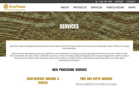 Screenshot of Services Page geotomo.com - Services - captured Sept. 27, 2018