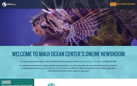 Screenshot of Press Page mauioceancenter.com - Press Room - Maui Ocean Center - captured Jan. 9, 2016