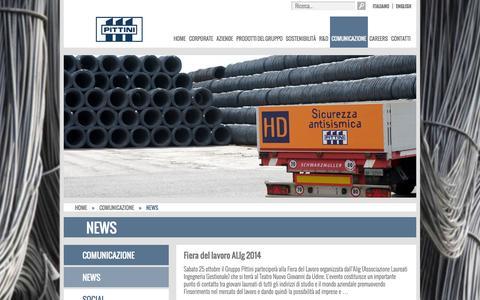 Screenshot of Press Page pittini.it - News – Gruppo Pittini - captured Nov. 2, 2014