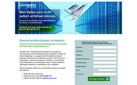 Screenshot of Landing Page vormetric.com - Datensicherheits-Experten kontaktieren - captured April 16, 2016