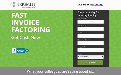 Screenshot of Landing Page invoicefactoring.com - Invoice Factoring Company | Triumph Business Capital - captured Nov. 28, 2016