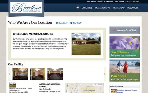 Screenshot of Maps & Directions Page breedlovememorialchapel.com - BREEDLOVE MEMORIAL CHAPEL | Facility | BREEDLOVE MEMORIAL CHAPEL - captured Nov. 3, 2014