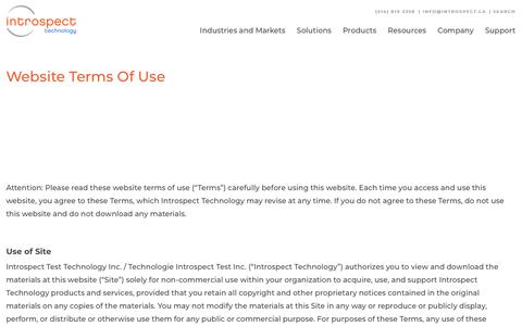 Screenshot of Terms Page introspect.ca - Website Terms Of Use | Introspect Technology - captured Feb. 8, 2020