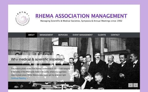 Screenshot of Home Page About Page Menu Page societymanagement.com - Scientific & Medical Society Management & Conference Organization - captured Oct. 1, 2014