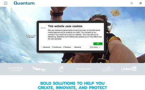 Screenshot of Home Page quantum.com - Create. Innovate. Protect. On Quantum. | Quantum - captured Aug. 14, 2019