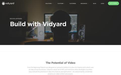 Screenshot of Developers Page vidyard.com - Developers - Vidyard - captured Sept. 9, 2016