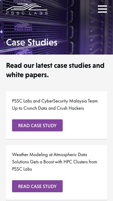 Screenshot of Case Studies Page  pssclabs.com - Official PSSC Labs Case Studies page