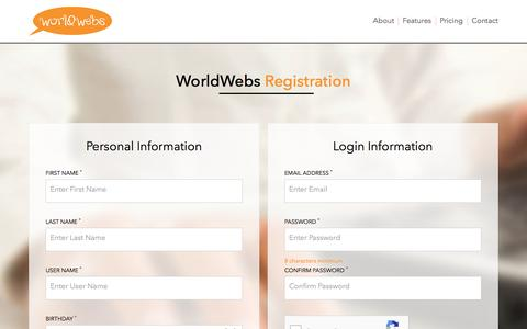 Screenshot of Signup Page worldwebs.com - WorldWebs - captured March 27, 2017