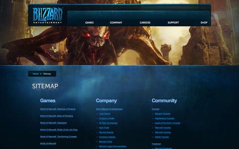 Screenshot of Site Map Page blizzard.com - Blizzard Entertainment:Sitemap - captured Sept. 18, 2014