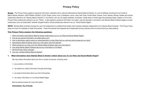 Privacy Policy | Stanley Black and Decker