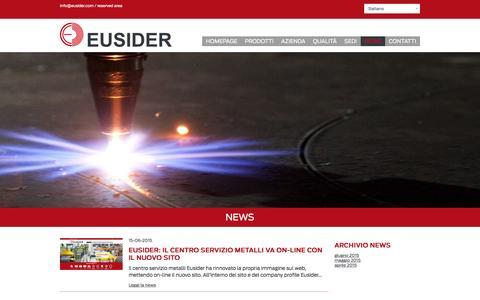 Screenshot of Press Page eusider.com - Eusider  Le news del centro servizi metalli - captured Oct. 16, 2016
