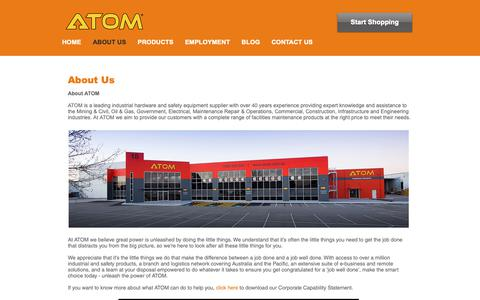 Screenshot of About Page atom.com.au - ATOM | Industrial Hardware & Safety Supplier - captured Oct. 2, 2018