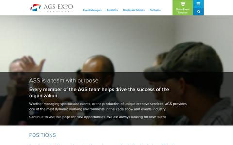 Screenshot of Jobs Page ags-expo.com - Join Our Team | AGS Exposition Services - captured Oct. 2, 2018