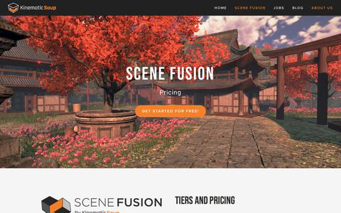 Screenshot of Pricing Page kinematicsoup.com - Scene Fusion Pricing —  KinematicSoup Technologies Inc. - captured July 9, 2018