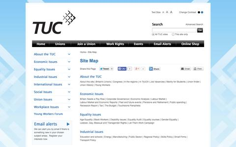 Screenshot of Site Map Page tuc.org.uk - Trades Union Congress - Site Map - captured Sept. 24, 2014