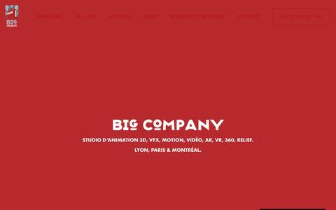 Screenshot of Home Page bigcompany.fr - Big Company | Studio d'animation 3D VFX motion video AR VR Lyon - captured Nov. 6, 2018