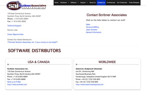 Screenshot of Contact Page scribner.com - Contact Scribner Associates Inc. - captured Oct. 6, 2014