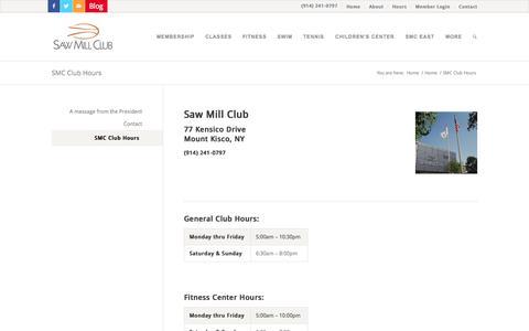 Screenshot of Hours Page sawmillclub.com - SMC Club Hours - Saw Mill Club - captured Sept. 30, 2014