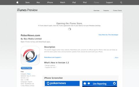 Screenshot of iOS App Page apple.com - PokerNews.com on the App Store on iTunes - captured Oct. 22, 2014