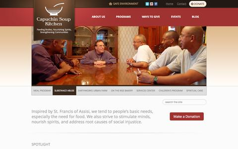 Screenshot of Home Page cskdetroit.org - Capuchin Soup Kitchen - - captured Sept. 23, 2015
