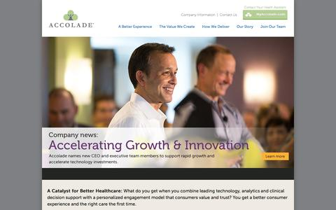 Screenshot of Home Page accolade.com - Accolade | A Catalyst for Better Healthcare - captured Dec. 1, 2015