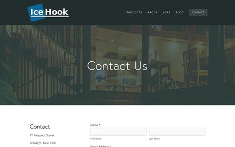 Screenshot of Contact Page icehook.com - Contact — IceHook Systems - captured Feb. 10, 2016