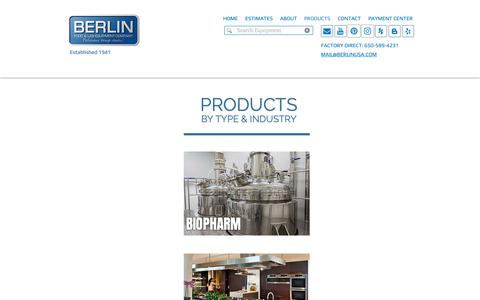 Screenshot of Products Page berlinusa.com - Berlin Food & Lab Equipment | San Francisco | Custom Range Hoods | PRODUCTS - captured Oct. 5, 2018