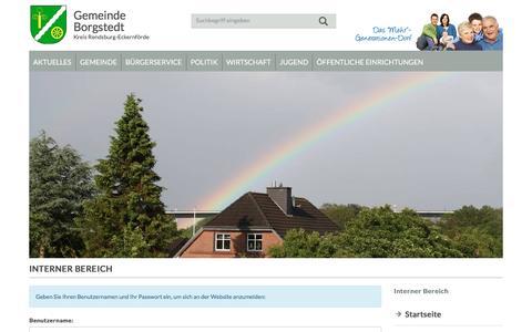 Screenshot of Login Page gemeinde-borgstedt.de - Interner Bereich | Gemeinde Borgstedt - captured March 29, 2017